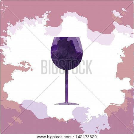Wine tasting card with a glass over a pink splash painted background. Digital vector image.