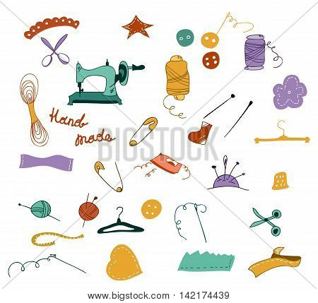 Hand drawn color cartoon set of objects for sewing, handicraft. Sewing tools and sewing kit, sewing equipment, needle, sewing machine, sewing pin, yarn. Doodle Sew vector set.