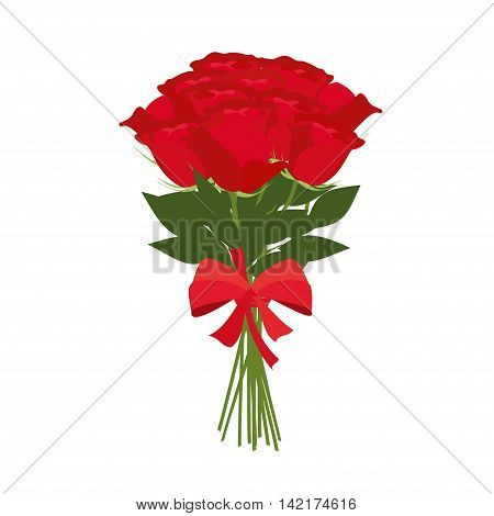 Vector bouquet of red roses vector ilustration. Bouquet of roses isolated on white background.