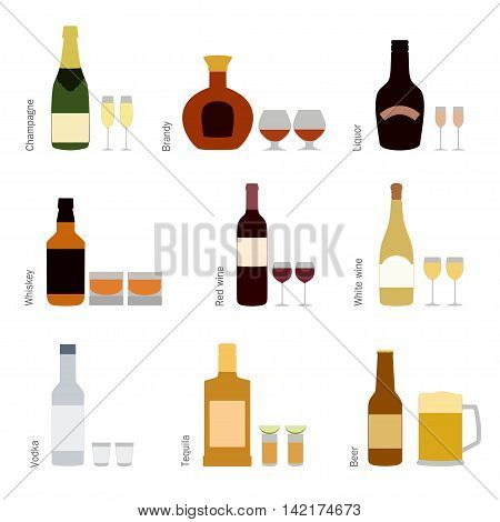 Color vector set of alcohol bottles with glasses icons, champagne, liquor, brandy, white wine, red wine, vodka, whiskey, tequila, beer with beer mug isolated on white background vector illustration. Alcohol drinks bottles icons.
