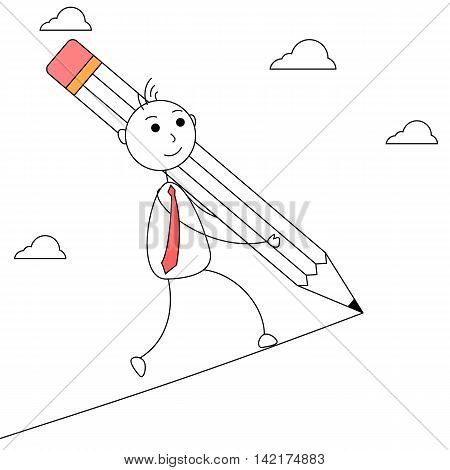 Cartoon businessman drawing his own path with a pencil