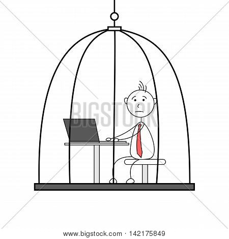Illustration of cartoon employee working in a cage