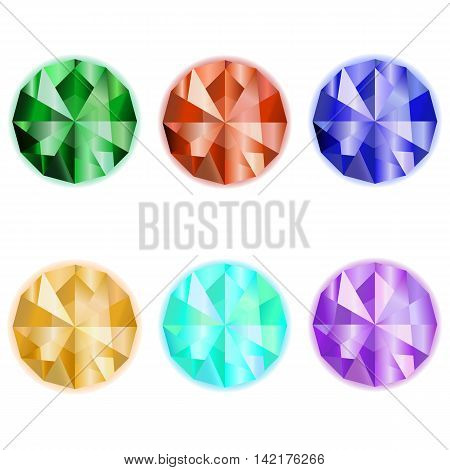 Gems vector. Emerald. Sardius. Sapphire. Topaz. Collection gem stones icon for game design. Gemstone on a white background
