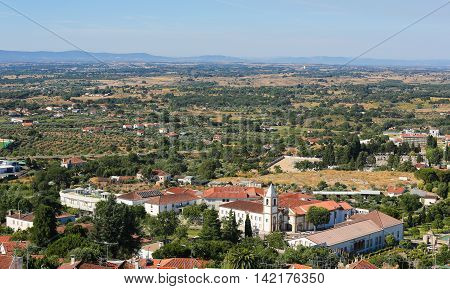 View from the Templars Castle on the famous Convent and church of Graca in Castelo Branco a city in the Centro region of Portugal. poster