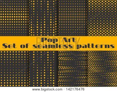 Dotted, Pop Art Seamless Pattern Background. Black And Orange Color. Set Vector Illustration.