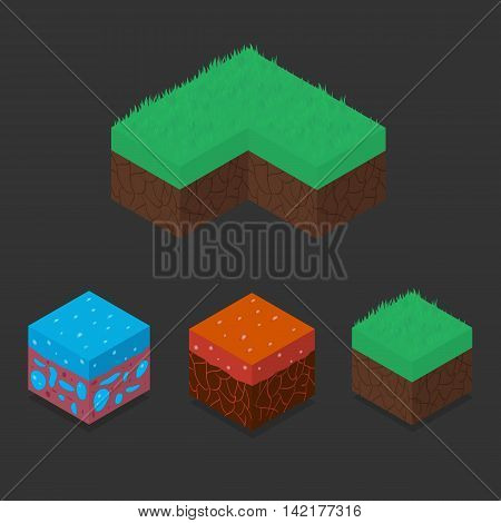 Collection set of 3D Isometric Landscape Cubes - Ground Grass Water Lava Element. Icon Can be used for Game Web Mobile App Infographics. Game asset.