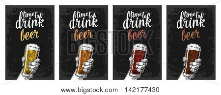 Male hand holding a glass with four types beer - light white red and dark. Vintage vector engraving illustration for web poster invitation to beer party time to drink. Isolated on white background