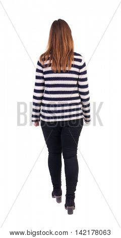 back view of walking  woman. beautiful blonde girl in motion.  backside view of person.  Rear view people collection. Isolated over white background. Girl in a striped jacket comes back to us.