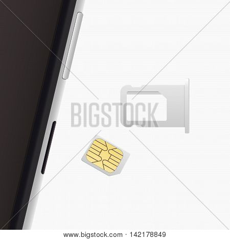 Small Nano Sim Card Sim Card Tray for Smartphone. Vector objects isolated on white. Realistic illustration. Top view