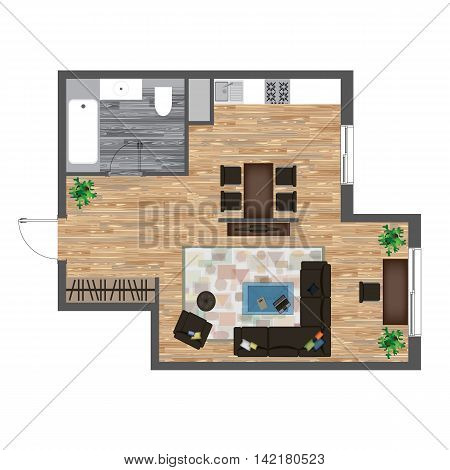Architectural Color Floor Plan. Studio Apartment Vector Illustration. Top View Furniture Set. Living room, Kitchen, Bathroom. Sofa, Armchair, Chair, Bed, Dining Table Carpet Kitchen Equipment