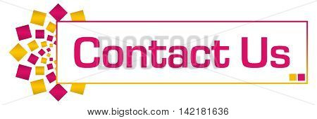 Contact us text written over pink golden yellow orange background.