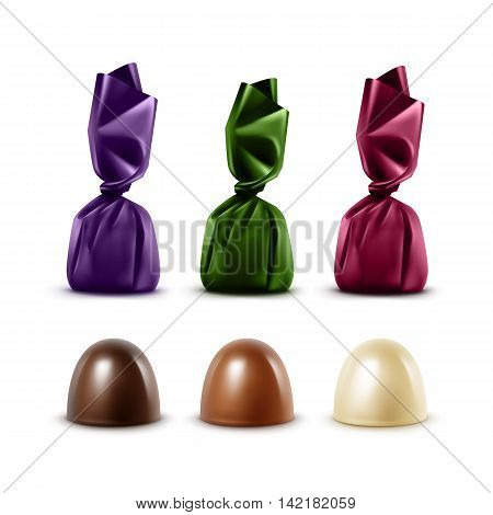 Vector Set of Realistic Dark Black Bitter White Milk Chocolate Candies in Colored Dark Green Violet Crimson Glossy Foil Wrapper Isolated on White Background