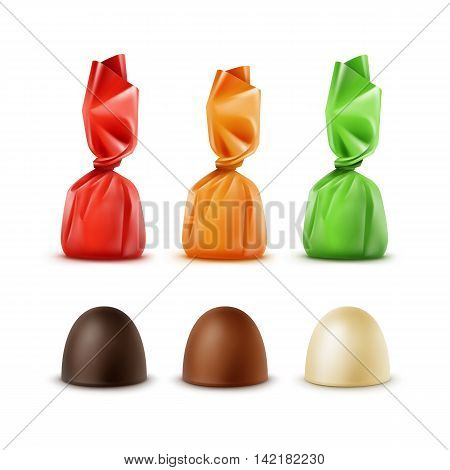 Vector Set of Realistic Dark Black Bitter White Milk Chocolate Candies in Colored Red Yellow Orange Green Glossy Foil Wrapper Isolated on White Background