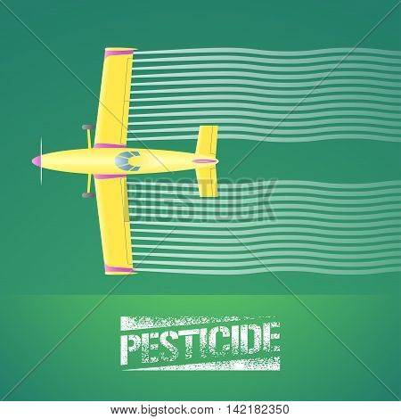 Crop duster plane vector illustration. Aerial view of flying airplane spraying green farmland. Design concept element for pest bug control agricultural technology with pesticide sign and crop duster