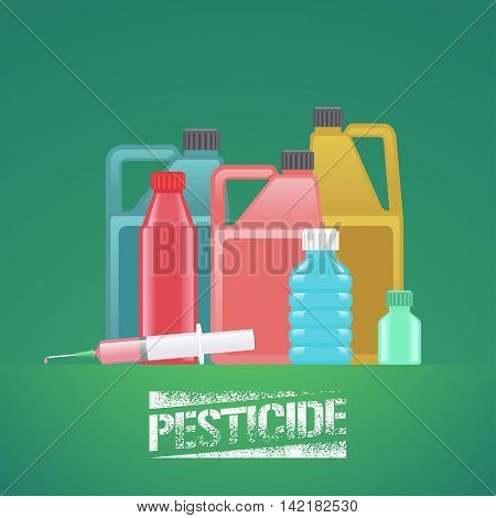 Set of bottles with pesticide toxic poisoned chemicals for gardening agriculture farming vector illustration design element poster