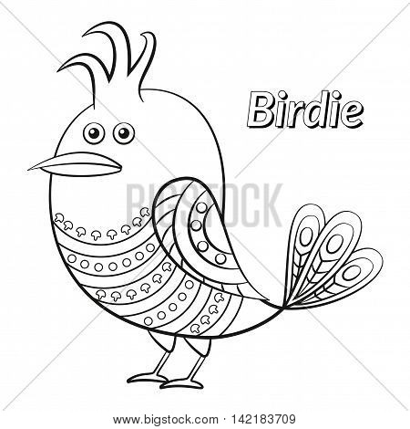 Funny Bird with Pattern Wings Looks Away, Cute Cartoon Character, Black Contour Isolated on White Background. Vector