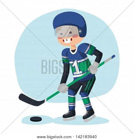 Ice hockey player with the puck on the ice. Athlete on the ice with the puck and a stick.