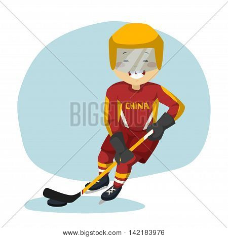 Boy playing in ice hockey. Ice hockey player with the puck on the ice.