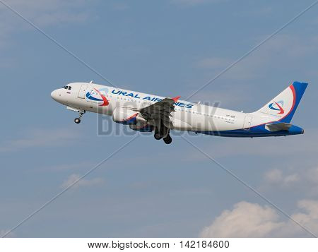The Moscow region - 31 July 2016: A passenger plane Airbus A320-214 Ural Airlines takes off and takes place in Domodedovo airport July 31 2016 Moscow Region Russia