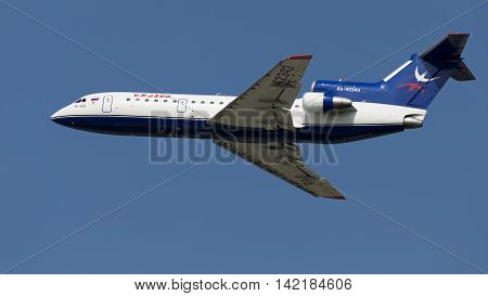 The Moscow region - 31 July 2016: A passenger plane Yak-42D Centre-Avia flies to Domodedovo airport July 31 2016 Moscow Region Russia