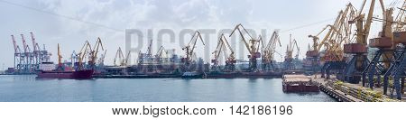 Panorama of sea cargo port with different harbor cranes ships and barge