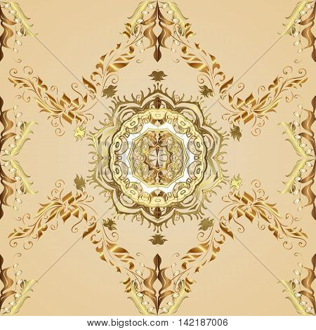 Seamless argyle pattern in fades tones of golden vintage elements yellow and brown background.