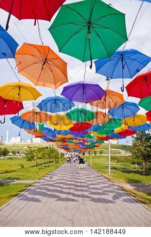ASTANA, KAZAHSTAN - 14 JULY, 2016: Installation from multi-colored umbrellas in the park.