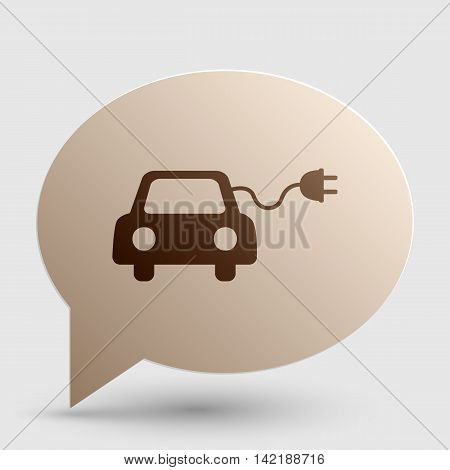 Eco electric car sign. Brown gradient icon on bubble with shadow.