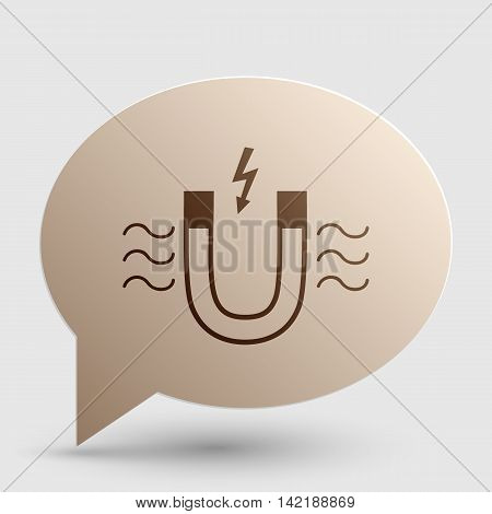 Magnet with magnetic force indication. Brown gradient icon on bubble with shadow.