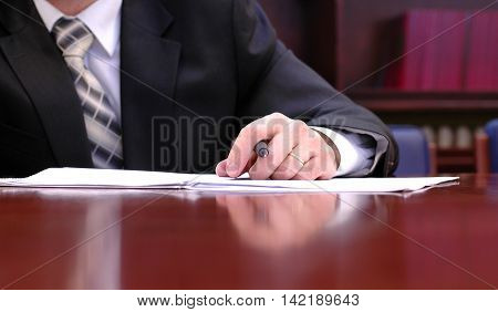 Businessman working on the contract business meeting contract signing concept