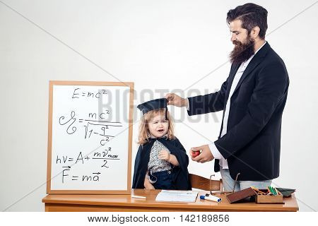 Crying Child And Teacher Man