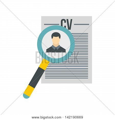 Magnifying glass over CV icon in flat style on a white background