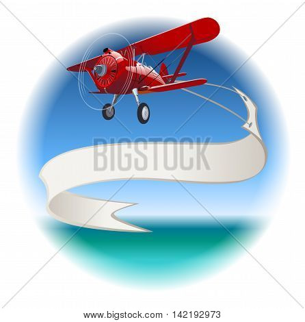 Retro Biplane with Banner. Available EPS-10 vector format separated by groups and layers for easy edit