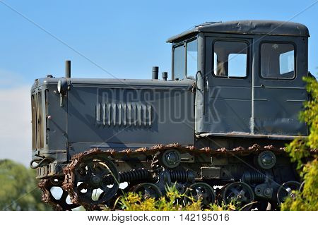 DEDILOVO RUSSIA - AUG 6 2016: Old soviet tractor T-74. One of the most mass Soviet tractors. Produced in USSR from 1962 to 1983. Number of issued tractors 880792 units