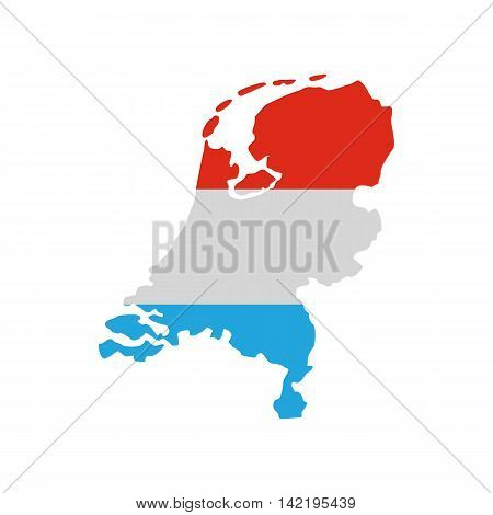 Map of the Netherlands in Dutch flag colors icon in flat style on a white background