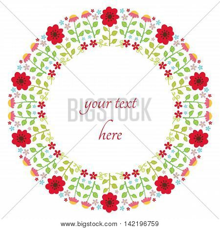 Floral design in circle. Flower wreath design. Round cute floral decoration seamless pattern.