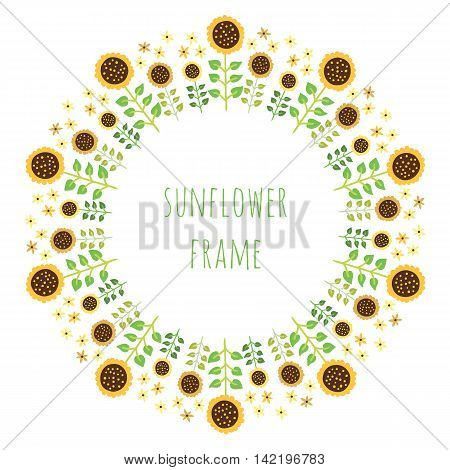 Floral design in circle. Flower wreath design. Round cute sunflower decoration seamless pattern.