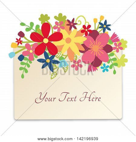 Floral design in rectangle. Flower decor design. Cute flowers decoration with place for copy text.