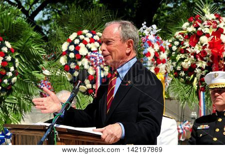 New York City - May 26 2013: Mayor Michael R. Bloomberg speaking at the 2013 Memorial Day ceremonies at the Soldiers' and Sailors' Monument in Riverside Park