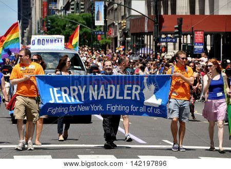 New York City - June 24 2012: Congressman Jerry Nadler marching in the Heritage of Pride gay parade on Fifth Avenue