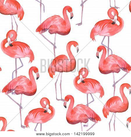 Seamless pattern with pink flamingo. Hand drawn watercolor painting
