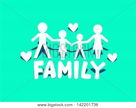 Vector Illustration of Family Icon Logo on Green Background