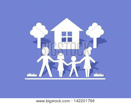 Vector Illustration of Family Icon with House and Trees