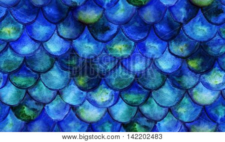 Seamless background with hand drawn with watercolor fish scales. Mermaid tale