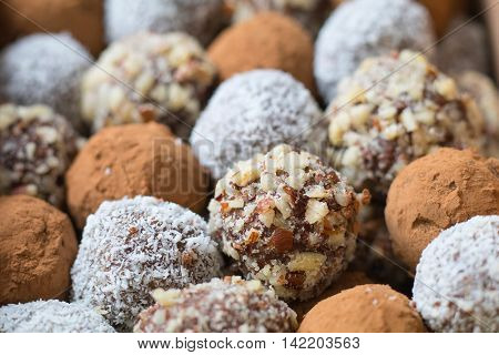 Hazelnut cocoa coconut and date homemade balls lined up in rows.