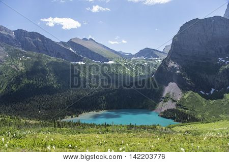 View from Grinnell Glacier Trail showing Grinnell Lake in Glacier National Park Montana United States.