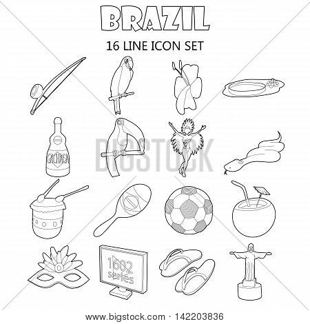 Outline Brazil icons set. Universal Brazil icons to use for web and mobile UI, set of basic Brazil elements isolated vector illustration