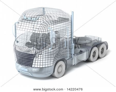 Mesh truck isolated on white my own design