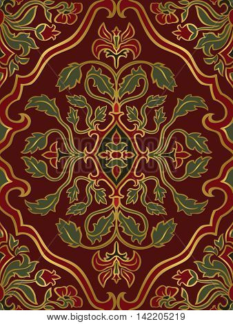 Red and green floral ornament. Template for oriental carpet textile shawl and any surface. Seamless vector pattern of gold contours on a red background.