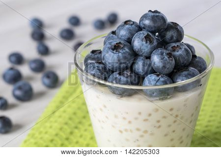Tapioca pudding in a clear glass with fresh blueberries on the top. Sitting on a white wood table and green cloth with fresh blueberries in the background.